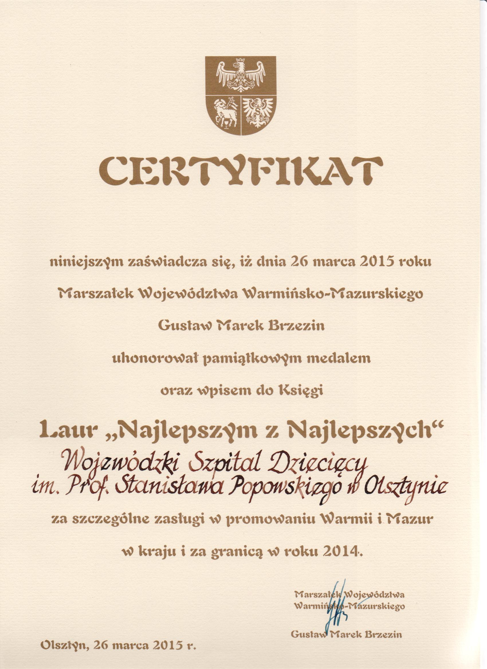 Certyfikat Laur