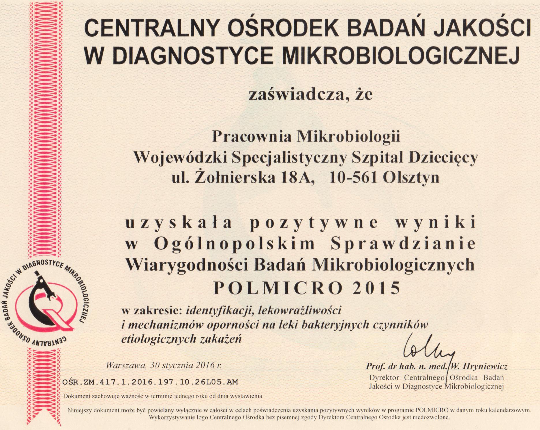 Zaświadczenie Wiarygodności Badań Mikrobiologiczych 2015