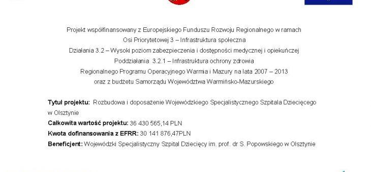Rozbudowa i doposażenie Wojewódzkiego Specjalistycznego Szpitala Dziecięcego w Olsztynie – ZAKOŃCZONY