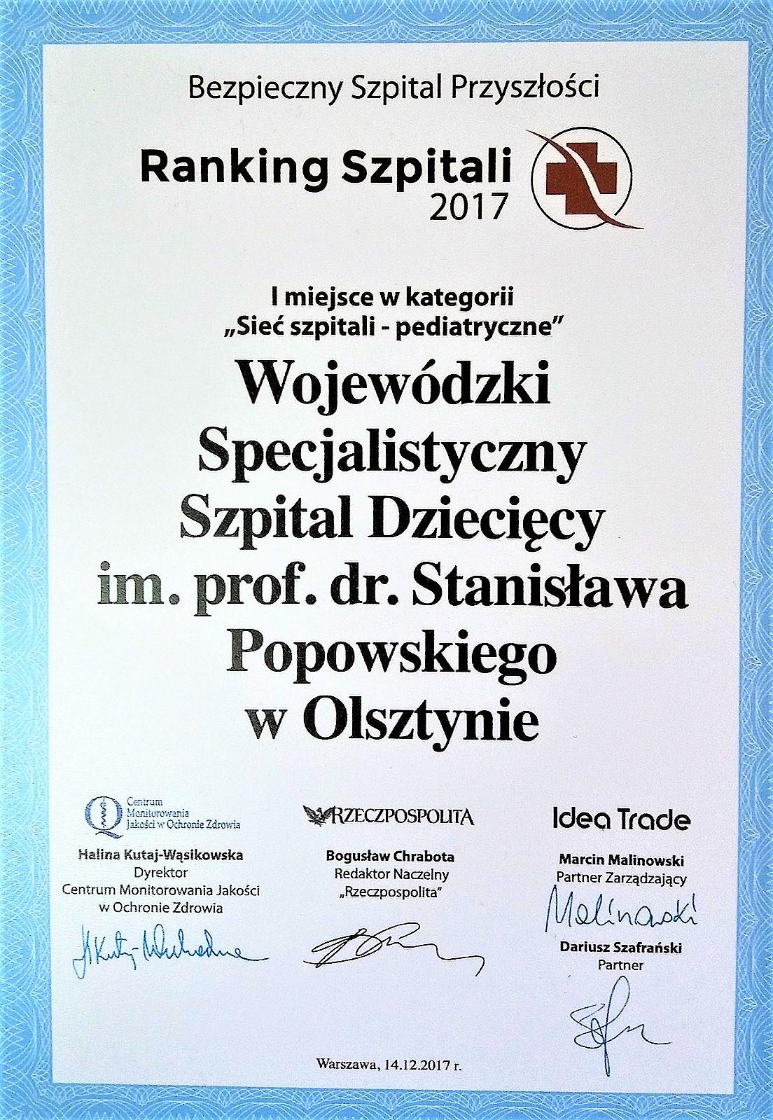 1. miejsce w Rankingu Szpitali 2017